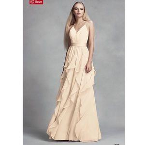 VERA WANG CHIFFON BRIDESMAID DRESS CASCADING SKIRT